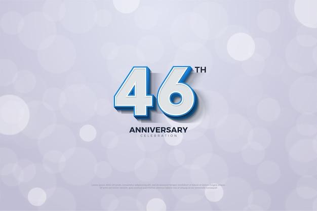 Comemoração do 46º aniversário com números em negrito e listrados em azul Vetor Premium