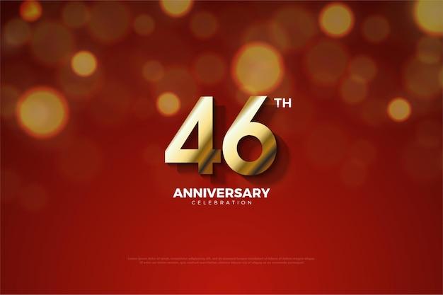 Comemoração do 46º aniversário com números sombreados Vetor Premium