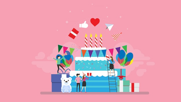 Comemoração festa aniversário com pessoas minúsculas ilustração personagem Vetor Premium