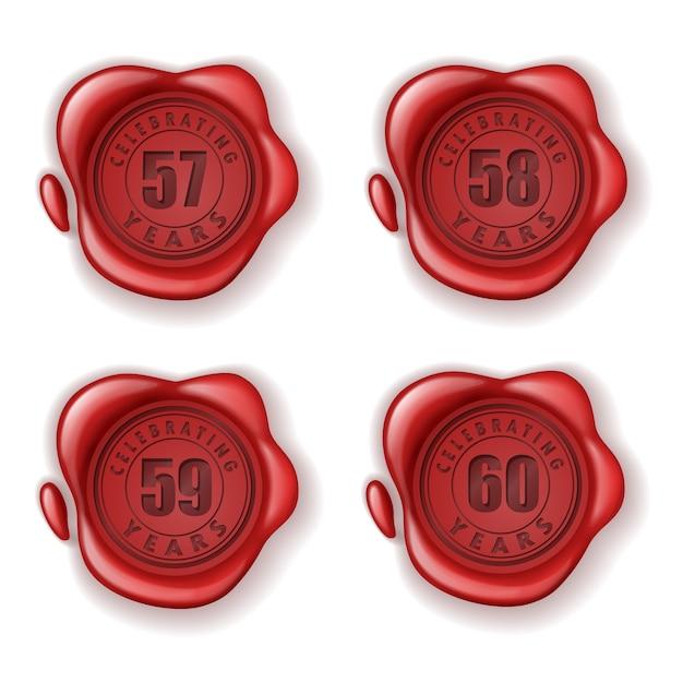 Comemorando 57-60 anos selo de cera de cartão Vetor Premium