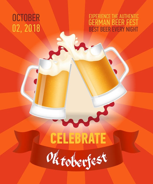 Comemore o design de cartaz vermelho octoberfest Vetor grátis