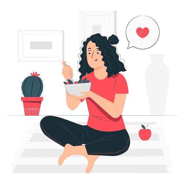 Comendo a ilustração do conceito de comida saudável Vetor grátis
