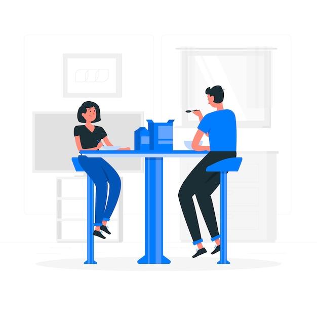 Comendo juntos ilustração do conceito Vetor grátis
