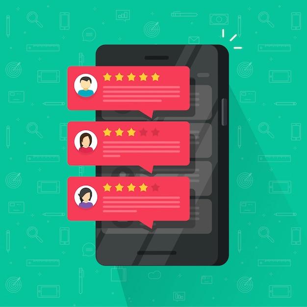 Comentários bolhas de classificação ou feedback no celular ou celular ilustração vetorial plana dos desenhos animados Vetor Premium
