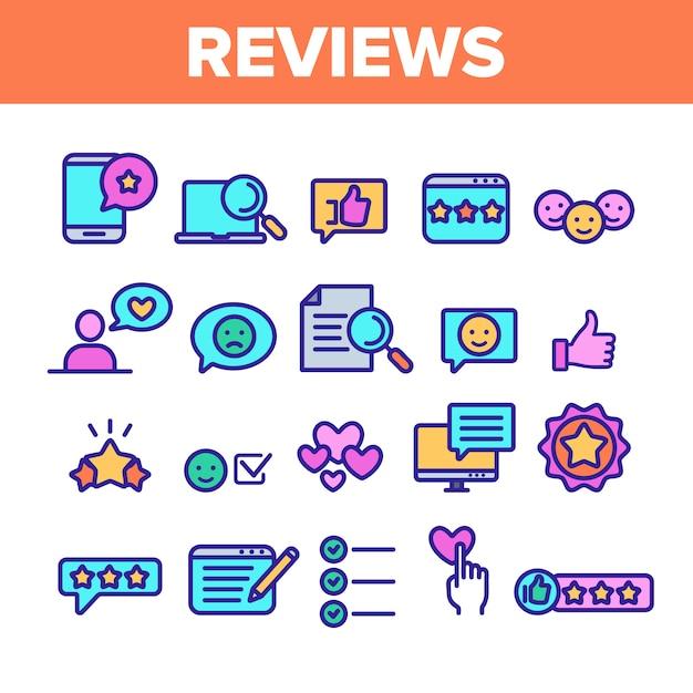 Comentários conjunto de ícones de linha fina Vetor Premium