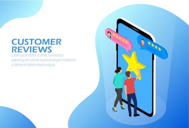 Comentários de clientes isométricos. Vetor Premium