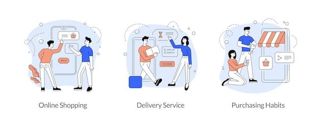 Comércio e comércio em conjunto de ilustração vetorial linear plana de internet. compras online, serviço de entrega, hábitos de compra. marketing de mídia social. aplicativo móvel. personagens de desenhos animados masculinos e femininos Vetor Premium