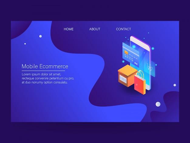 Comércio eletrônico móvel Vetor Premium