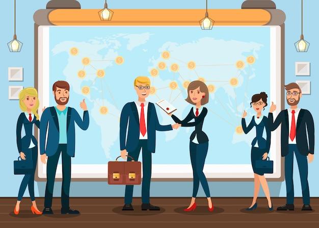 Comércio global, ilustração vetorial plana de economia Vetor Premium