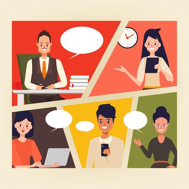 Comic de pessoas de negócios em cena de escritório. Vetor Premium