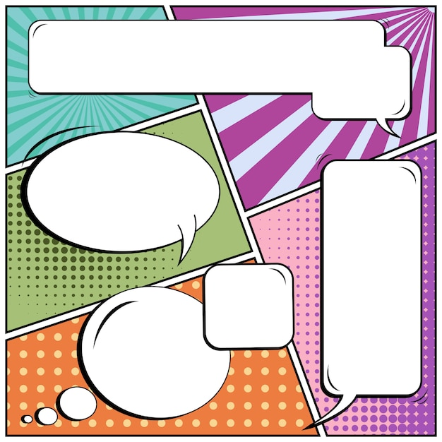 Comic pop art estilo em branco discurso bolhas. Vetor Premium