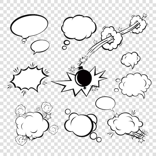 Comic set bubbles Vetor grátis