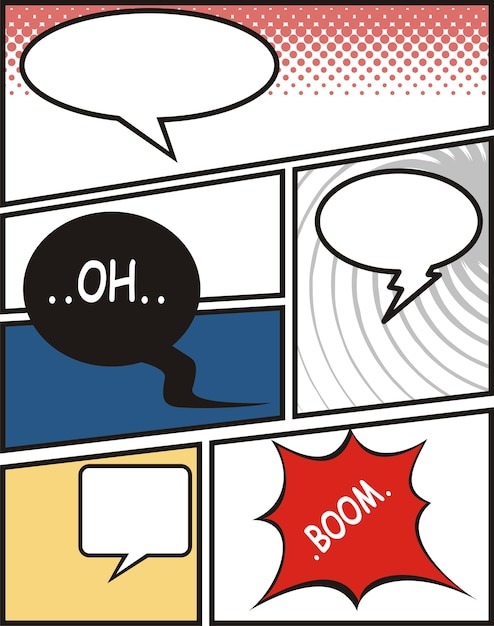 Comic speech bubbles and comic strip background Vetor Premium