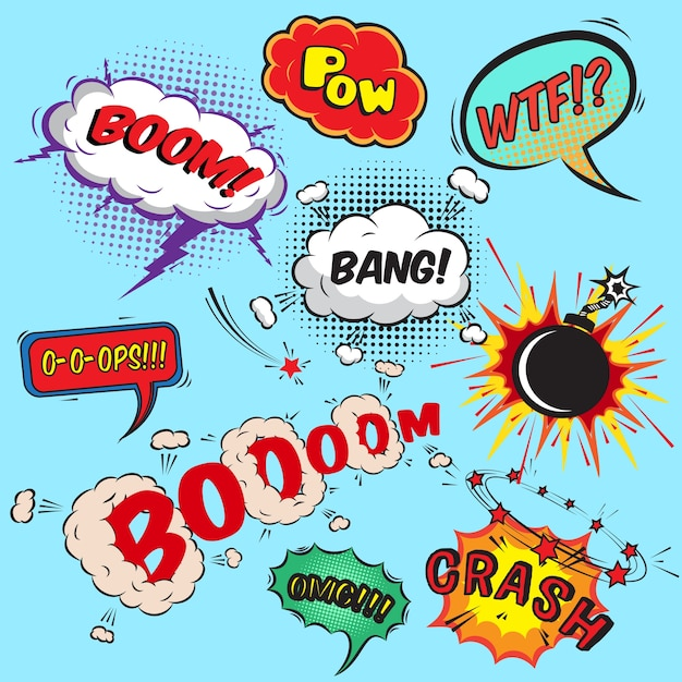 Comic speech bubbles design elements collection ilustração vetorial isolado Vetor grátis