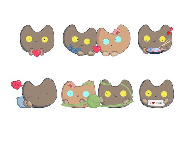 Comics set stickers com gatos adoram no dia dos namorados Vetor Premium