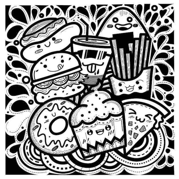 Comida bonito doodles estilo quadrado composto de bolinhos, hambúrgueres, donuts, batatas fritas, pizza, cachorro-quente e um copo de água. Vetor Premium