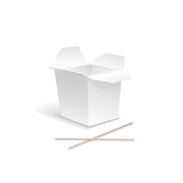 Comida chinesa aberta white tira caixa de macarrão com pauzinhos. recipiente para fast food, almoço asiático, papelão vazio Vetor Premium