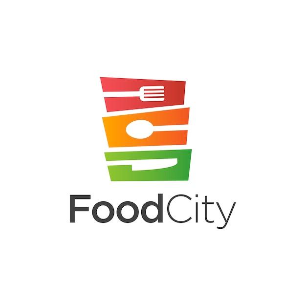 Comida cidade logo template design vector Vetor Premium
