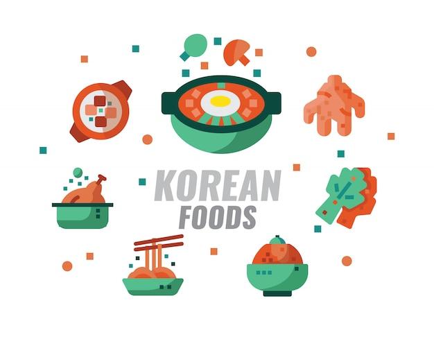 Comida coreana, cozinha, receitas banner. ilustração vetorial Vetor Premium