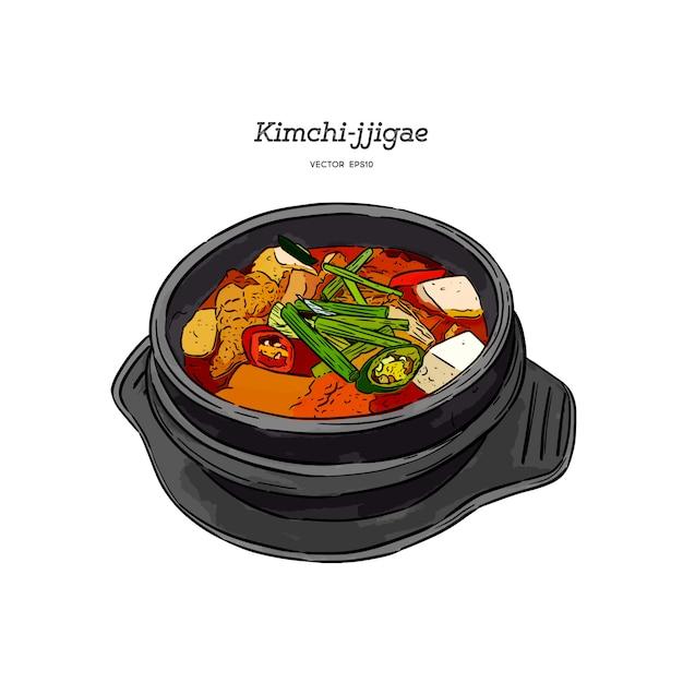 Comida coreana kimchi jjigae Vetor Premium