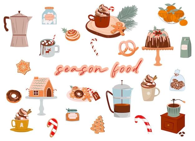 Comida da época do natal doces doces cacau bebida quente biscoitos de gengibre ilustração de comida bonito dos desenhos animados ilustração editável Vetor Premium
