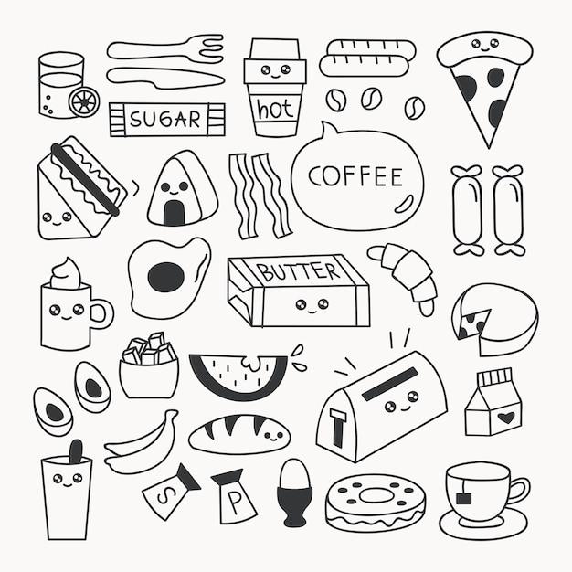 Comida de café da manhã doodle conjunto ilustração vetorial Vetor Premium