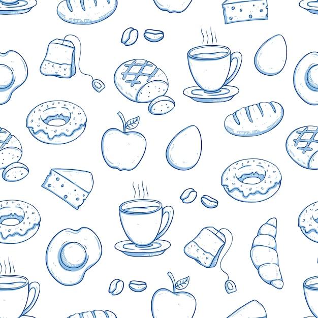 Comida de café da manhã no padrão sem emenda com estilo doodle Vetor Premium