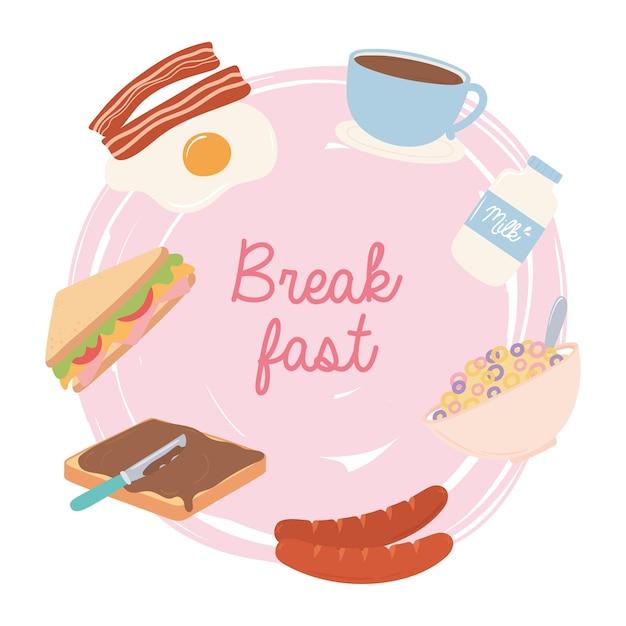 Comida de café da manhã ovo frito fresco bacon leite xícara de café sanduíche de salsicha ilustração Vetor Premium