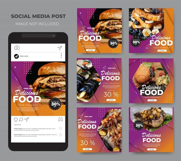 Comida de mídia social definir modelo de layout roxo moderno post feed Vetor Premium