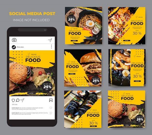 Comida de mídia social definir modelo moderno modelo amarelo post feed Vetor Premium