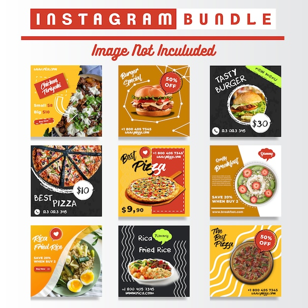Comida de mídia social instagram posts bundle Vetor Premium