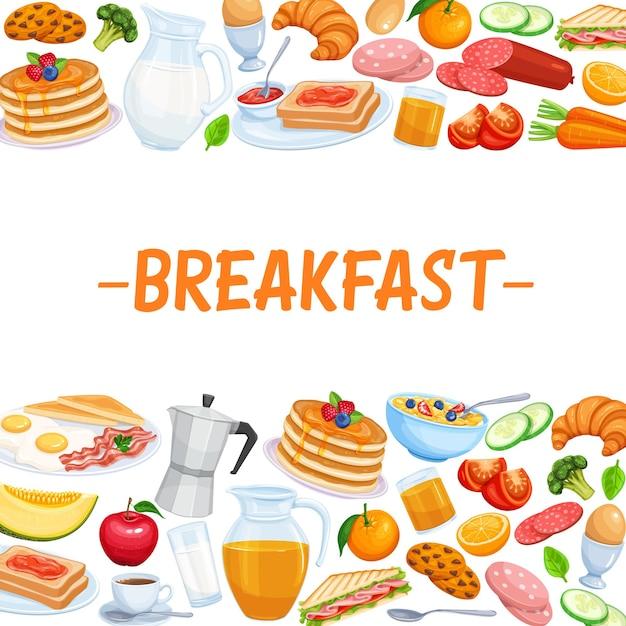 Comida de modelo de página de café da manhã. Vetor Premium