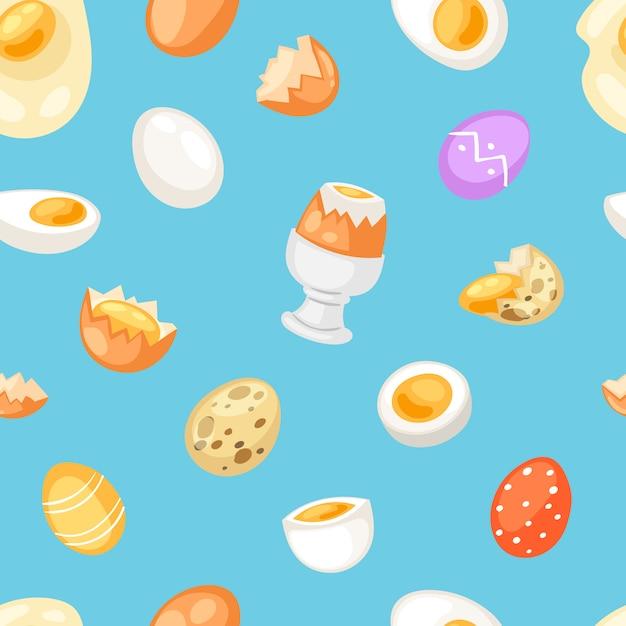 Comida de páscoa de ovo e clara de ovo saudável ou gema na xícara de ovos ou omelete de cozinha na frigideira para conjunto de ilustração de café da manhã de casca de ovo ou ovo em forma de ingredientes sem costura de fundo Vetor Premium