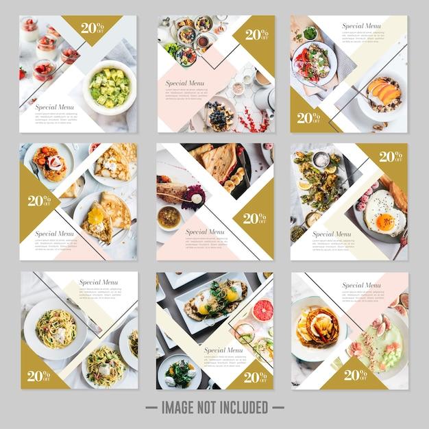 Comida de restaurante mídia social postar banners de modelo Vetor Premium