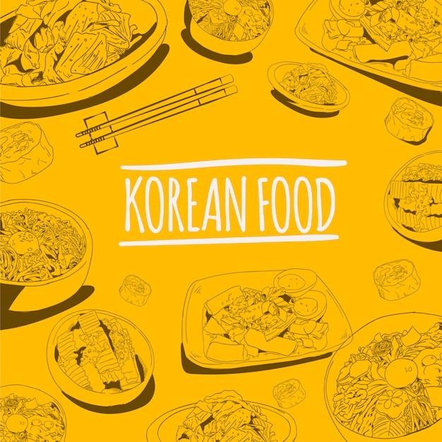 Comida de rua coreana doodle ilustração vetorial Vetor Premium