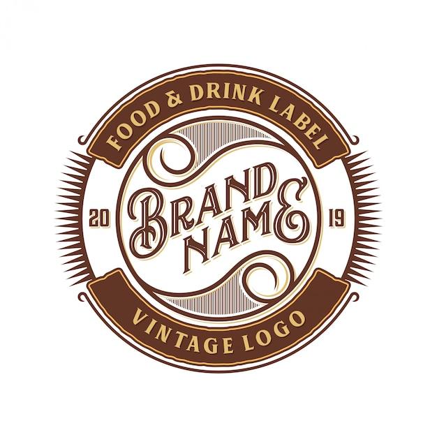Comida e bebida design de logotipo para etiqueta de marca Vetor Premium