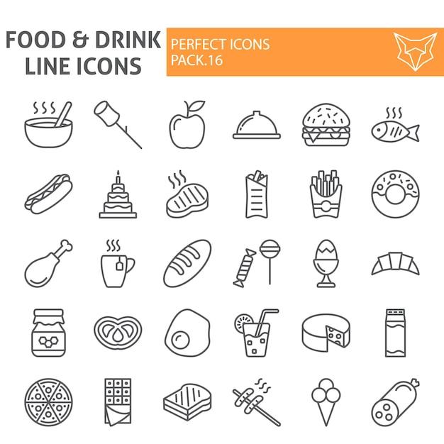 Comida e bebida linha conjunto de ícones, coleção de refeições Vetor Premium
