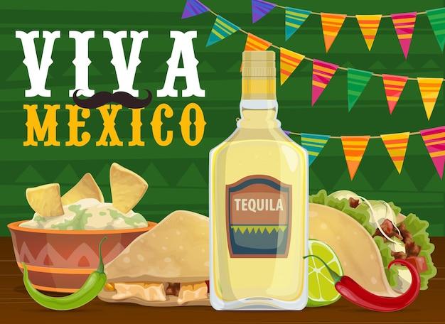 Comida e bebida para festa de fiesta mexicana, design viva mexico Vetor Premium