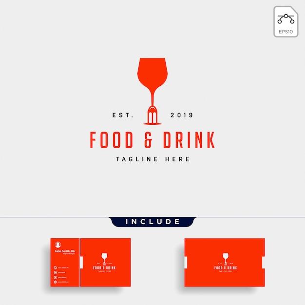 Comida e bebida simples plana logotipo ilustração ícone elemento Vetor Premium