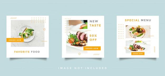 Comida e mídia social culinária feed coleção de vector design promoção Vetor Premium