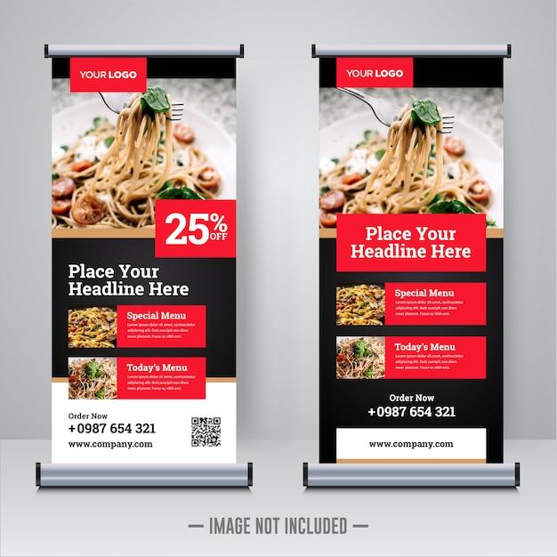 Comida e restaurante arregaçar modelo de design de bandeira Vetor Premium