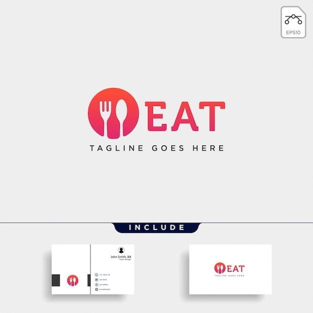 Comida equipamentos colher garfo logotipo modelo ilustração elemento de ícone Vetor Premium