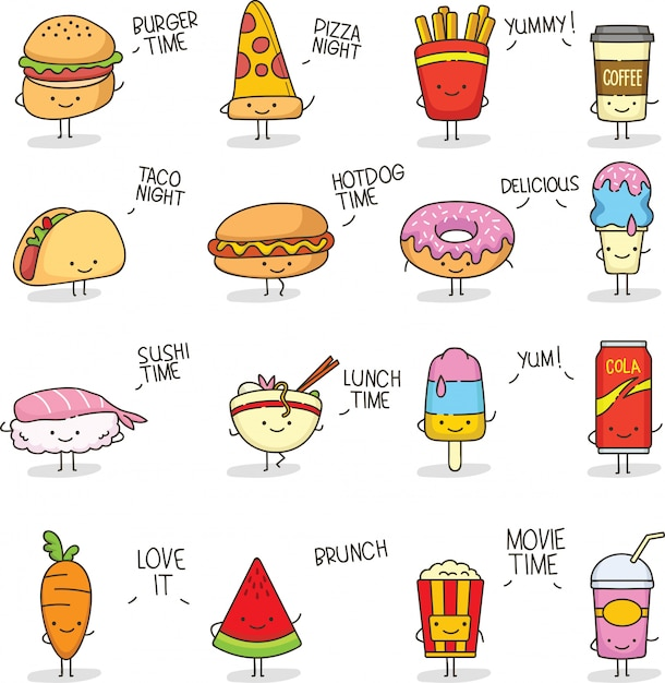 Comida fofa doodle kawaii Vetor Premium