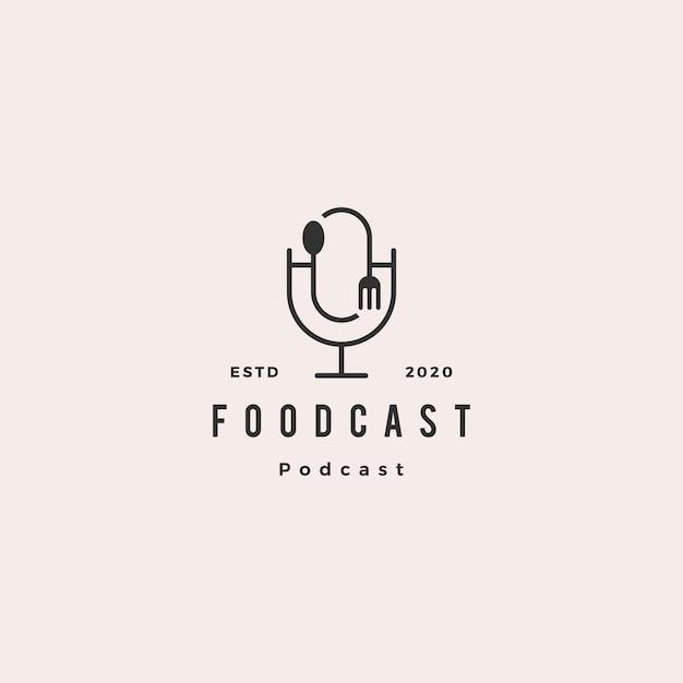 Comida garfo colher podcast logotipo hipster retro vintage ícone para comida culinária restaurante blog vídeo vlog review channel Vetor Premium