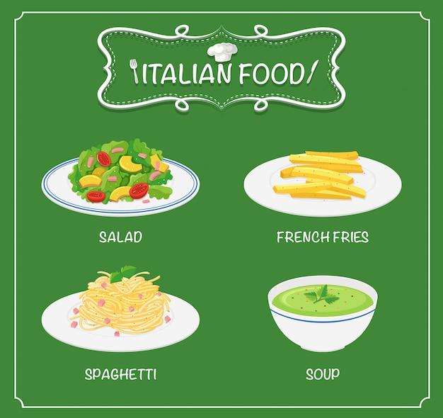 Comida italiana no menu Vetor grátis