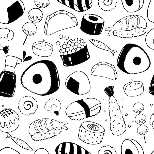 Comida japonesa mão desenhada sem costura padrão Vetor Premium