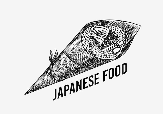 Comida japonesa. sushi bar ou rolo de temaki. ilustração vetorial para restaurante asiático. Vetor Premium