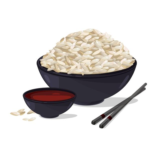Comida japonesa. tigela com arroz branco. conjunto de ilustrações vetoriais Vetor Premium