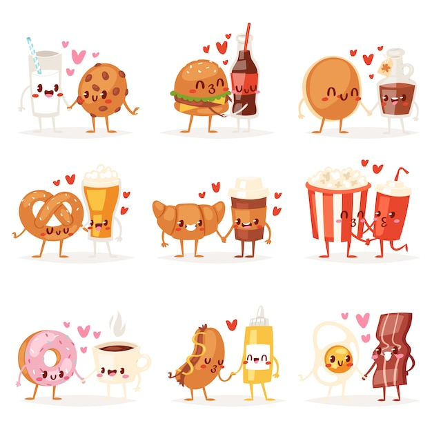 Comida kawaii dos desenhos animados personagens de expressão de hambúrguer de fastfood, amando o donut emoticon ilustração dia dos namorados conjunto de emoção de hambúrguer beijando café emoji apaixonado sobre fundo branco Vetor Premium