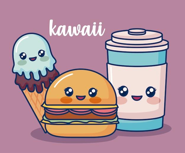 Comida kawaii Vetor grátis